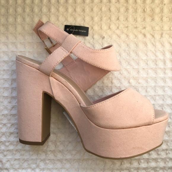 Light Pink Chunky Platform Heels | Poshmark
